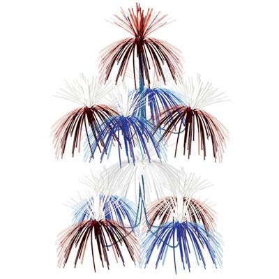 Red, White and Blue Firework Chandelier