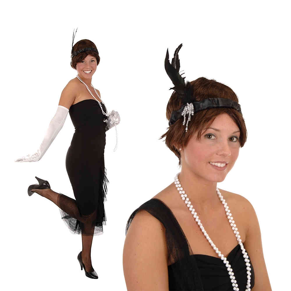 1920s flapper headband with feather