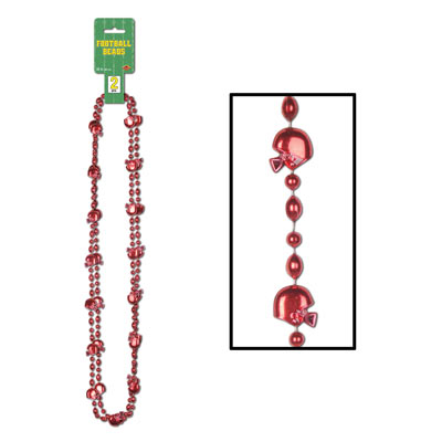 Football Beads with round beads and football and helmet shaped beds attached.