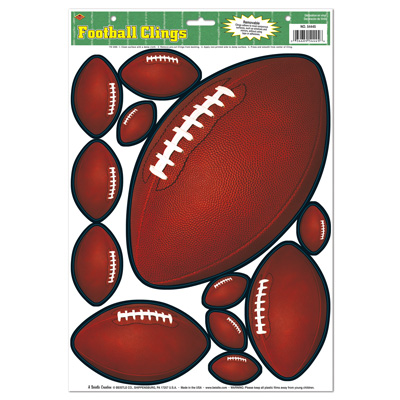 Different Sized Football Clings for a sports themed party