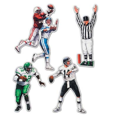 Football Figures of four players and a referee.