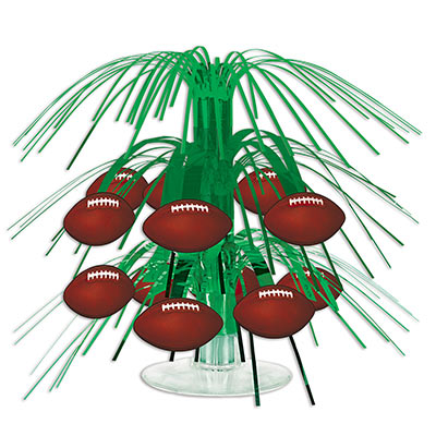 Football Mini Cascade Centerpiece with football icons attached to green metallic strands.