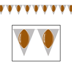 Football Pennant Banners has a gray background with a football printed on each pennant.