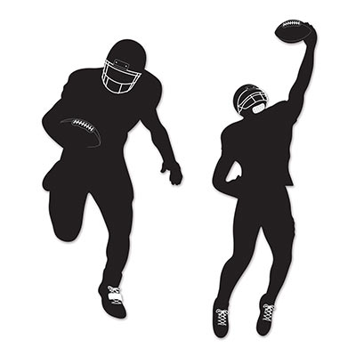 Football silhouettes of a player running with the football and another catching the football.