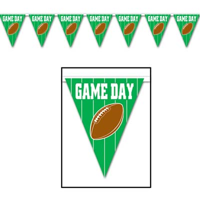 "Banner made of pennants printed with ""Game Day"" in white with a field line background and football."