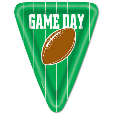 Green Triangle Game Day Football Plates