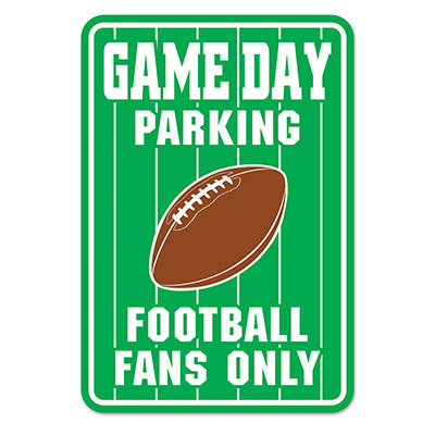 Green Game Day Parking Sign with a football and White Lettering