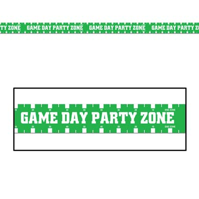 Green Game Day Party Zone Party Tape with Bold White Lettering