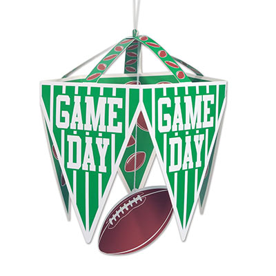 "Chandelier green pennants with white field like stripes saying ""Game Day"" with a card stock football dangling in the middle of five pennants."