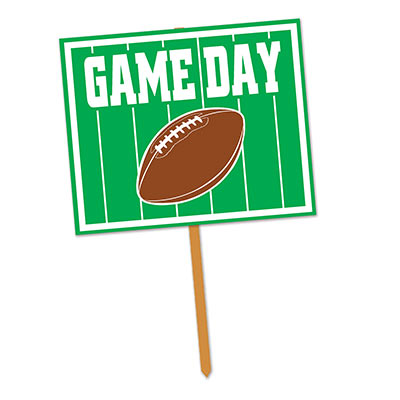 Green Game Day Yard Sign with a football and White Lettering