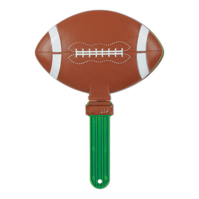 Clapper made of plastic material and shaped like a football.