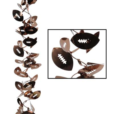 Flexible garland with brown football icons attached.