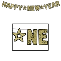 Black Happy New Year streamer with gold glittered lettering.