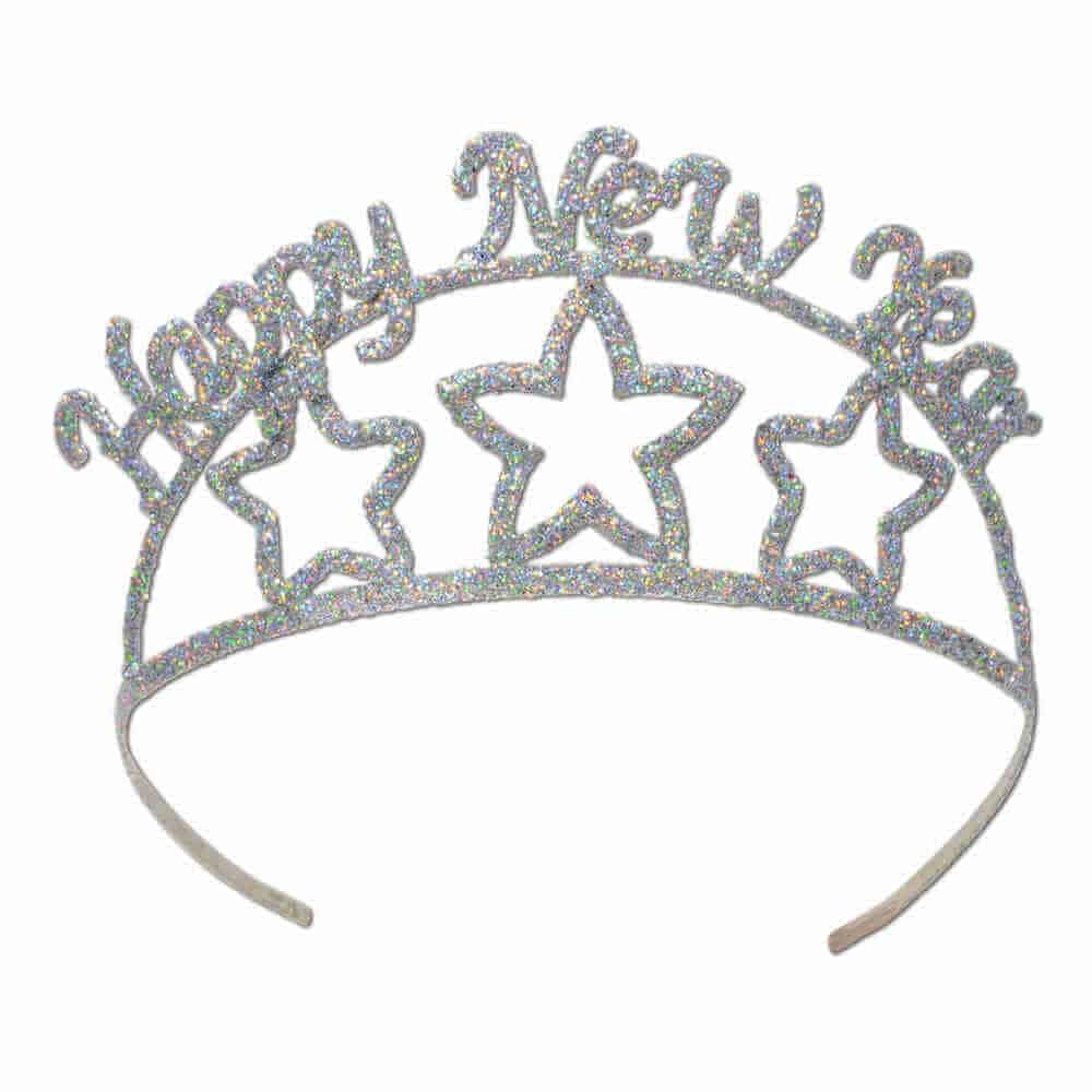 glittered metal happy new year tiara
