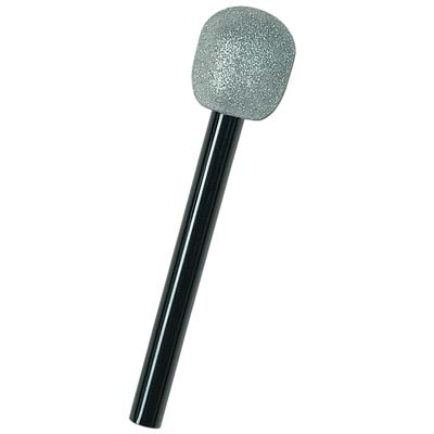 Microphone decoration with plush silver top and black plastic handle.