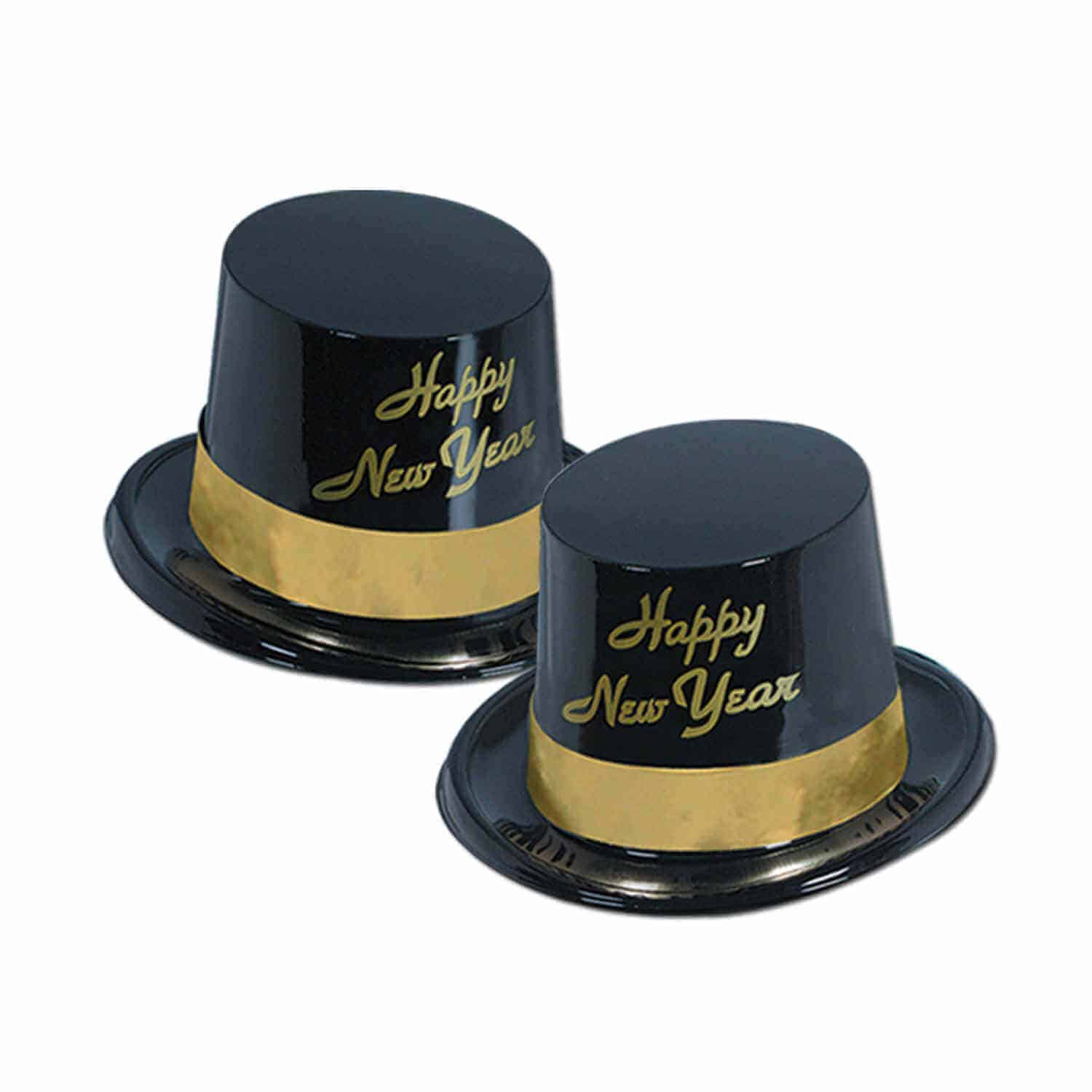 black and gold happy new year top hats