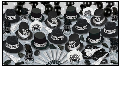 Grand Deluxe Silver - New Years Party Kit for 50 New Years Eve, party, kit, assortment, hats, tiaras, horns, noisemakers