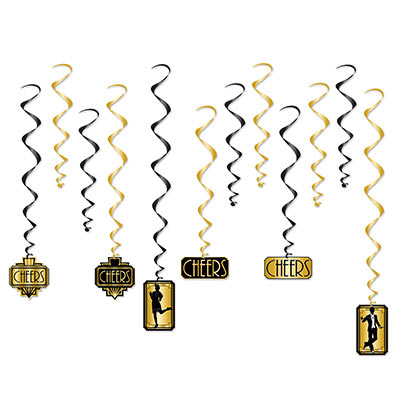 Black and gold metallic whirls with 20s themed icons attached.