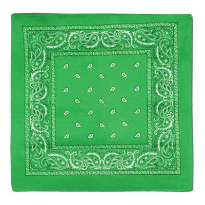 Traditional green bandana with white print.
