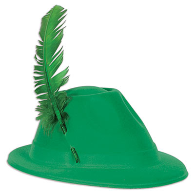 Green alpine hat with velour material and a fun green feather.