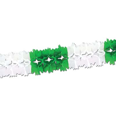 Green and White Pageant Garland made of tissue material.