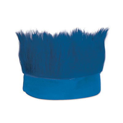 Blue fabric headband with  hair like material standing straight up.