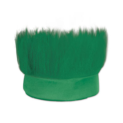 Green fabric headband with  hair like material standing straight up.
