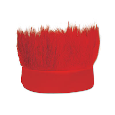 Red fabric headband with  hair like material standing straight up.