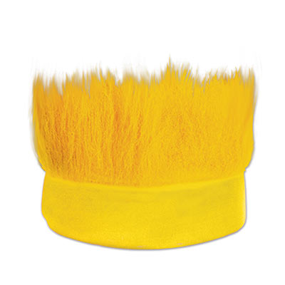 Yellow fabric headband with  hair like material standing straight up.