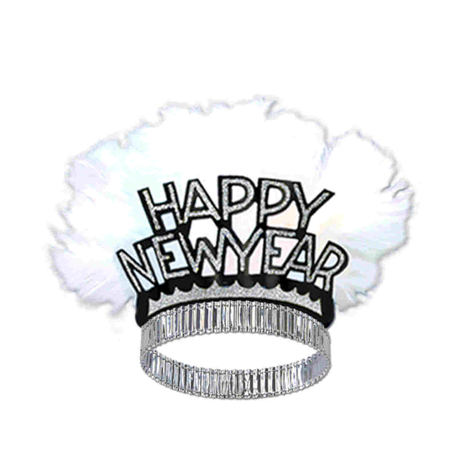 black and gold happy new year tiaras with white feathers