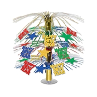 bright colored happy new year table centerpiece