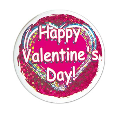 Bright Pink and Red Happy Valentines Day! Button with white lettering