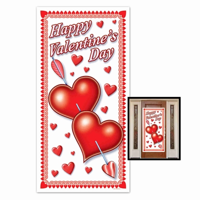 Valentines Day Door Cover with an arrow being shot through multiple red hearts