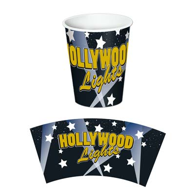 "Paper cup printed black with white stars and ""Hollywood Lights"" in gold."