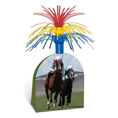 Horse Racing Table Centerpiece with Red, Yellow and Blue Spray top