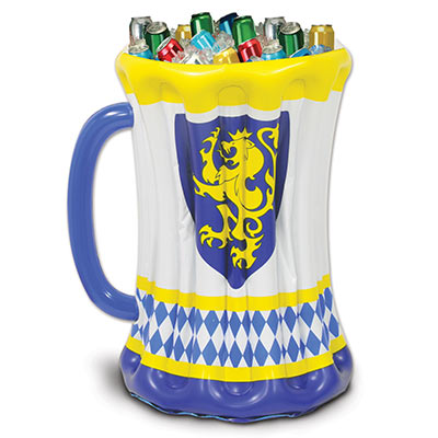 Inflatable Beer Stein Cooler printed with Oktoberfest colors and the Bavarian Lion.