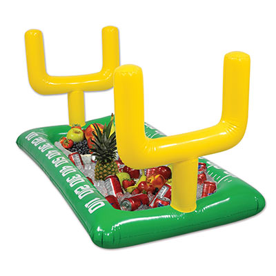 Inflatable Football Field Buffet Cooler to replicate a football field with field goal posts.