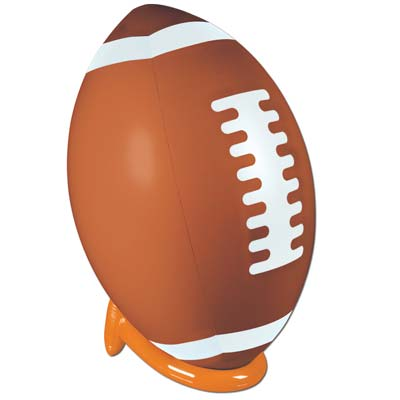 Large inflatable plastic football and kick tee for decoration.