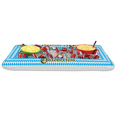 Blue and White Inflatable Oktoberfest Buffet Cooler