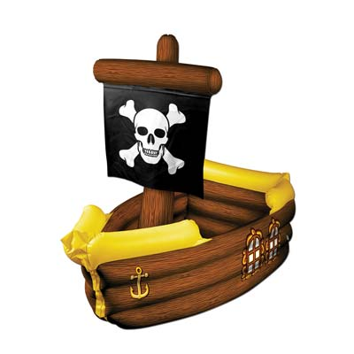 Inflatable pirate ship cooler made of plastic material with great detail.
