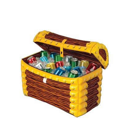 Inflatable treasure chest cooler made of plastic to hold ice and drinks.