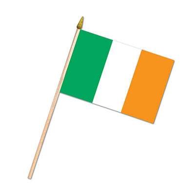 Fabric Irish Flag attached to a wooden stick.