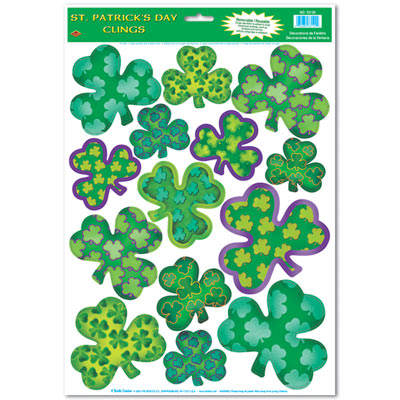 Variously designed green shamrock clings for St. Patricks Day.