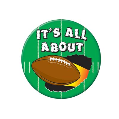 Its All About Football Green Button with white lettering