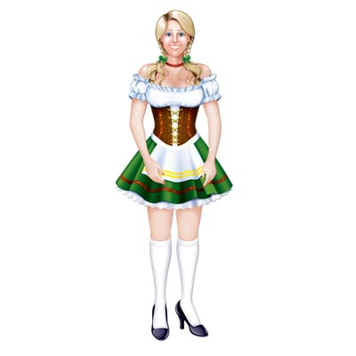 Jointed Oktoberfest Fraulein is printed in great detail on card stock material.