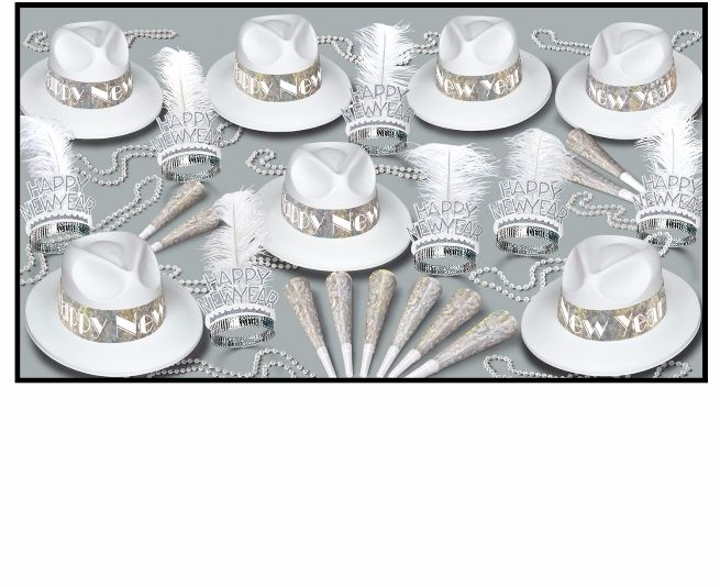 white new year's eve party kit with fedoras and tiaras with feathers