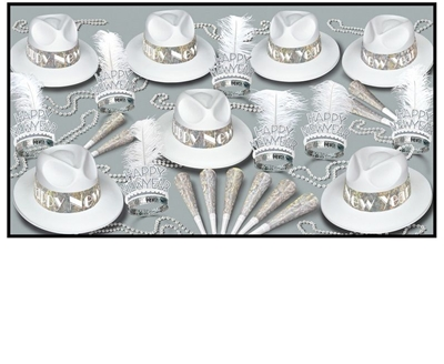 LA Swing Silver - New Years Party Kit for 50 whtie, silver, prismatic, new years eve, party favors, hats, tiara, horns, beads, wholesale, inexpensive, bulk