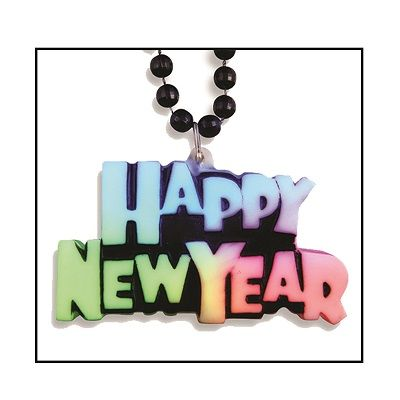 Multi-Colored Happy New Year Medallion With Black Beads