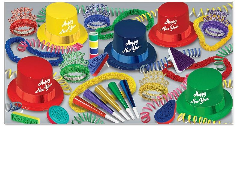 Legacy Asst for 10 Legacy Assortment, multi-color, new years eve, party favor, hat, tiara, horn, leis, noisemakers, wholesale, inexpensive, bulk