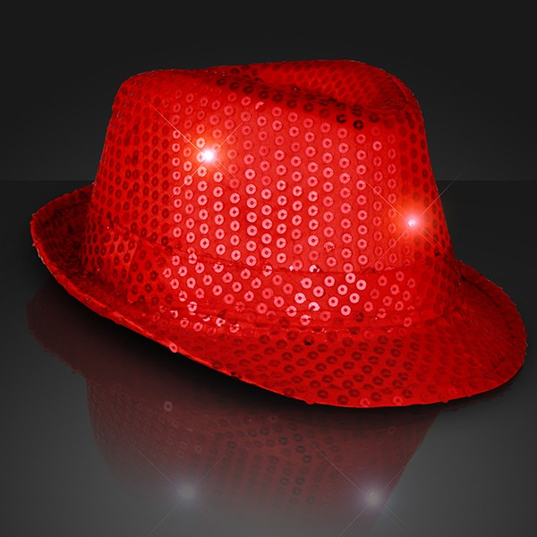 Light Up Fedoras (Pack of 6) Red, New Years Eve, Valentines Day, Fedoras, Light up hats, Party favors, Party hats, Glow in the dark, Sequin Fedoras, 4th of July, Patriotic, Inexpensive, Wholesale party supplies